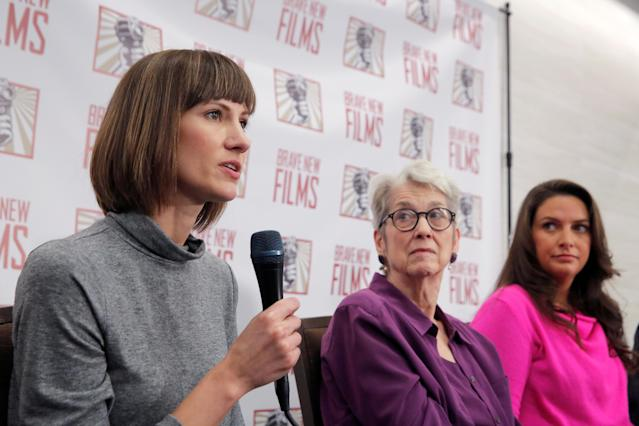 Rachel Crooks, Jessica Leeds, and Samantha Holvey at a Dec. 11, 2017, news conference in New York for a documentary that focuses on women who have publicly accused President Trump of sexual misconduct. (Photo: Reuters/Andrew Kelly)