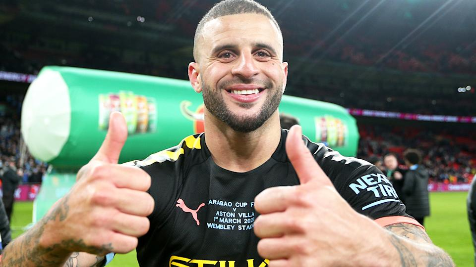 Kyle Walker, pictured here celebrating after Manchester City's victory in the Carabao Cup Final in March.
