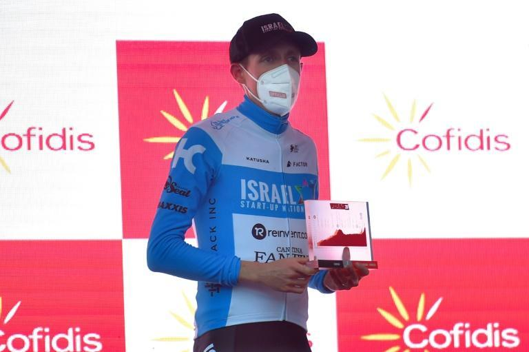 Team Israel Academy rider Dan Martin celebrates on the podium after the 3rd stage of the 2020 Vuelta