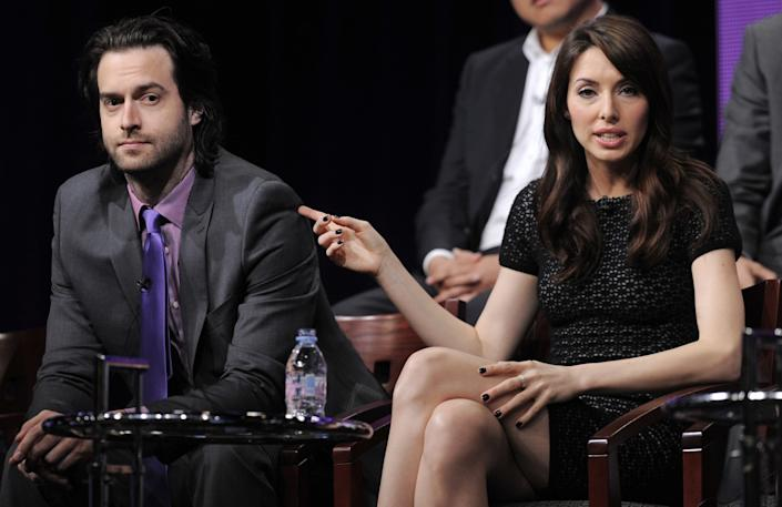 "Chris D'Elia, left, with Whitney Cummings as the two promoted their NBC sitcom ""Whitney"" in 2011. <span class=""copyright"">(Associated Press)</span>"