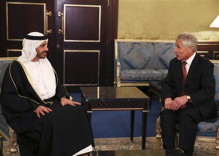 U.S. Secretary of Defense Chuck Hagel meets with United Arab Emirates Minister of Foreign Affairs Sheik Abdullah bin Zayed at the Ritz Carlton Hotel in Manama