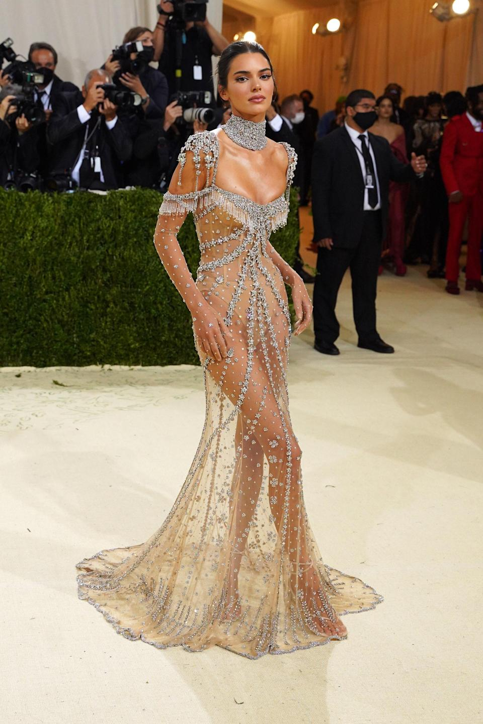 Kendall graced the carpet in a bejeweled Givenchy dress designed by American creative director Matthew Williams. The look was created as an homage to Audrey Hepburn.