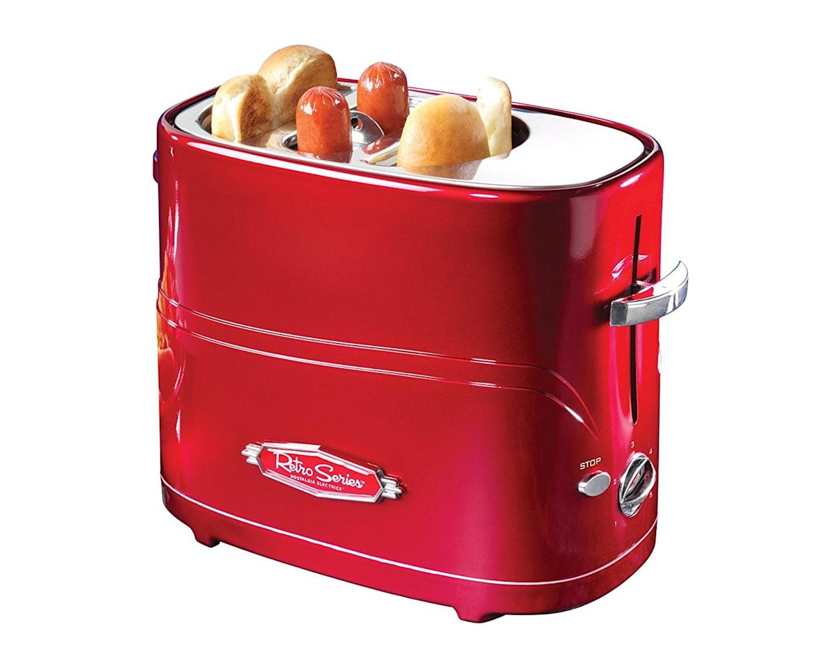 "<p>Cook two hot dogs simultaneously in this <product href=""https://www.amazon.com/Nostalgia-HDT600RETRORED-Retro-Pop-Up-Toaster/dp/B005Q8X6IO/ref=sr_1_1?s=appliances&amp;ie=UTF8&amp;qid=1516395457&amp;sr=1-1&amp;keywords=Nostalgia+Nostalgia+HDT600RETRORED+Retro+Series+Pop-Up+Hot+Dog+Toaster"" target=""_blank"" class=""ga-track"" data-ga-category=""internal click"" data-ga-label=""https://www.amazon.com/Nostalgia-HDT600RETRORED-Retro-Pop-Up-Toaster/dp/B005Q8X6IO/ref=sr_1_1?s=appliances&amp;ie=UTF8&amp;qid=1516395457&amp;sr=1-1&amp;keywords=Nostalgia+Nostalgia+HDT600RETRORED+Retro+Series+Pop-Up+Hot+Dog+Toaster"" data-ga-action=""body text link"">Nostalgia Retro Series Pop-Up Hot Dog Toaster</product> ($20, originally $23)</p>"