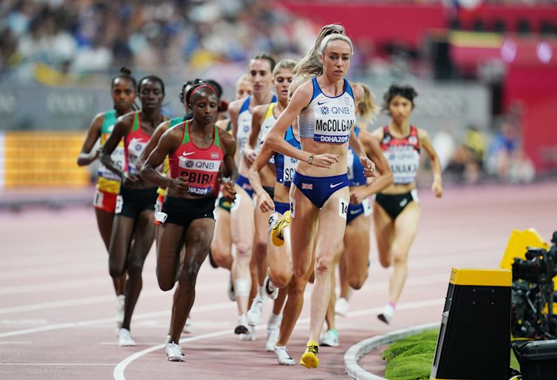 Britain's Eilish McColgan in action in the women's 5000m final in Doha REUTERS/Aleksandra Szmgiel