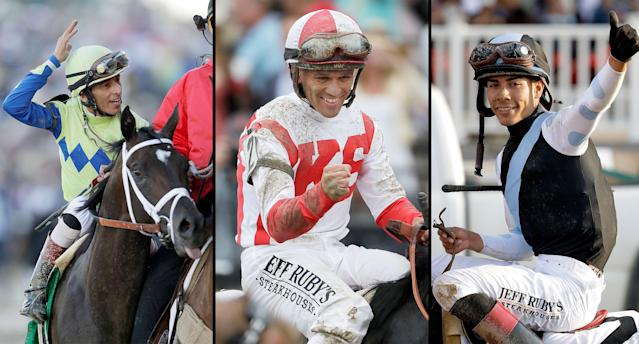 All three 2017 Triple Crown race winners will compete Saturday at the Travers Stakes. (AP)