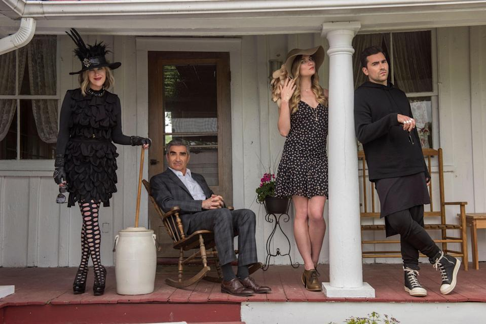 """<p><em>Nominated for: Best Television Series–Musical or Comedy; Best Performance by an Actress in a Television Series–Musical or Comedy (Catherine O'Hara); Best Performance by an Actor in a Supporting Role in a Series, Limited Series or Motion Picture Made for Television (Dan Levy); Best Performance by an Actor in a Television Series–Musical or Comedy (Eugene Levy); Best Performance by an Actress in a Supporting Role in a Series, Limited Series or Motion Picture Made for Television (Annie Murphy)</em></p> <p>The little Canadian show that could! This beloved under-the-radar sitcom about a wealthy family that loses everything and moves to the sticks grew steadily through word-of-mouth and streams on Netflix. It recently wrapped its final season as one of the top comedies in the country, sweeping every category it was nominated in at the Emmys. Can the series pull it off one last time?</p> <p><a href=""""https://cna.st/affiliate-link/2Z6F81fjBAMUbaw55t2E8q41eU5eDQYHEH5vMP7s8X5gXGxyxd3zMWPNSLVfSbD6S5rxYoM8tGAYsiVuAMA3Sh2d6oW4?cid=5e710d3f596dd70008c85778"""" rel=""""nofollow noopener"""" target=""""_blank"""" data-ylk=""""slk:Watch now on Netflix"""" class=""""link rapid-noclick-resp""""><em>Watch now on Netflix</em></a></p>"""
