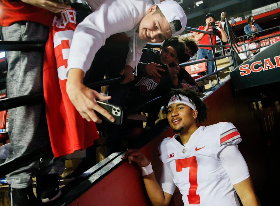 C.J. Stroud hangs out with fans after the Buckeyes' 52-13 victory against Rutgers.