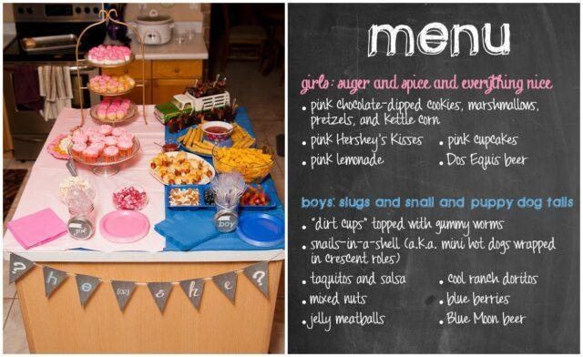 A glimpse of a menu from gender reveal party