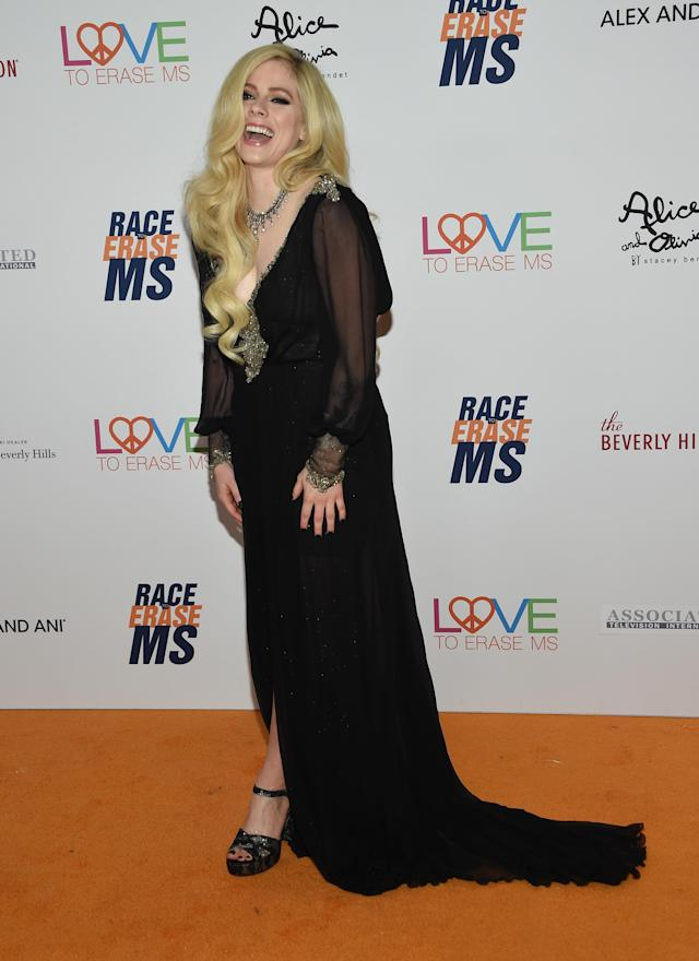 Avril Lavigne at the 25th Annual Race to Erase MS Gala at the Beverly Hilton hotel in Beverly Hills, on April 20  (Photo: Chris Delmas/AFP/Getty Images)