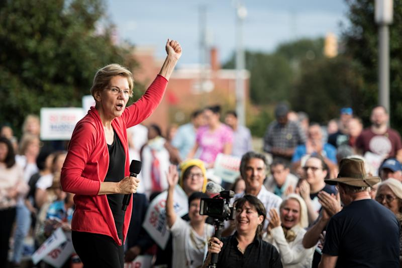 FLORENCE, SC - OCTOBER 26: Democratic presidential candidate, Sen. Elizabeth Warren (D-MA) addresses a crowd outside of the Francis Marion Performing Arts Center October 26, 2019 in Florence, South Carolina. Many presidential hopefuls campaigned in the early primary state over the weekend, scheduling stops around a criminal justice forum in the state capital. (Photo by Sean Rayford/Getty Images)