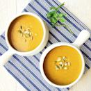 """<p>Coconut milk gives this garlicky soup its intensely creamy texture.</p><p>Get the recipe from <a href=""""https://www.delish.com/cooking/recipe-ideas/recipes/a44147/coconut-curry-pumpkin-soup-recipe/"""" rel=""""nofollow noopener"""" target=""""_blank"""" data-ylk=""""slk:Delish"""" class=""""link rapid-noclick-resp"""">Delish</a>.</p>"""