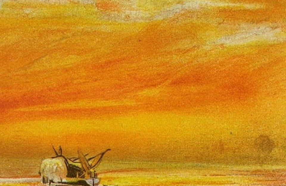 """<span class=""""caption"""">The eruption of Krakatoa in 1883 sent volcanic dust and gases circling the Earth, creating spectacular sunsets captured by artists.</span> <span class=""""attribution""""><a class=""""link rapid-noclick-resp"""" href=""""https://en.wikipedia.org/wiki/1883_eruption_of_Krakatoa#/media/File:Houghton_71-1250_-_Krakatoa,_twilight_and_afterglow.jpg"""" rel=""""nofollow noopener"""" target=""""_blank"""" data-ylk=""""slk:William Ashcroft via Houghton Library/Harvard University"""">William Ashcroft via Houghton Library/Harvard University</a></span>"""