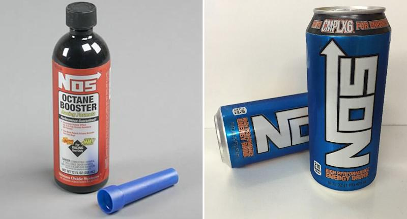 A can of NOS Octane Booster is pictured next to a can of NOS energy drink.