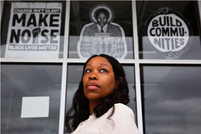 """""""The more we remove the ability to have these critical and crucial conversations, we are going to continue to whitewash the system that is already whitewashed,"""" says Shareefah Mason, a master social studies teacher at Zumwalt Middle School in Dallas. (Shelby Tauber for The Texas Tribune)"""