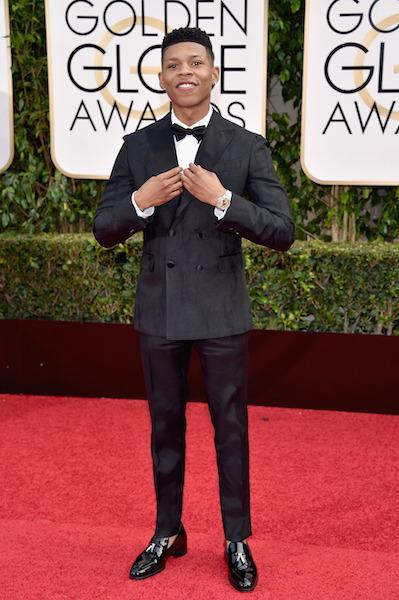 Bryshere Y. Gray in a double-breasted tux at the 73rd Golden Globe Awards.