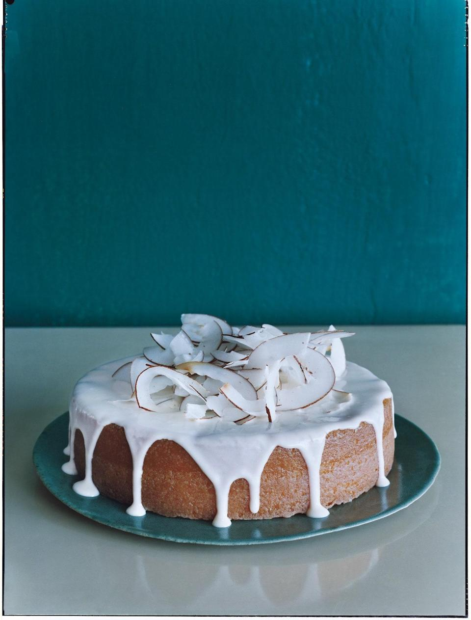 """<p>Though the presentation of this cake—all white-glazed and topped with undulating ribbons of toasted coconut—will take everyone's breath away, we promise that it will only get better from there. (And the cake's rich, coconutty, rum-nipped flavor will never hint that it was a one-bowl effort.)</p> <p>\</p> <a href=""""https://www.epicurious.com/recipes/food/views/coconut-rum-cake-240000?mbid=synd_yahoo_rss"""" rel=""""nofollow noopener"""" target=""""_blank"""" data-ylk=""""slk:See recipe."""" class=""""link rapid-noclick-resp"""">See recipe.</a>"""