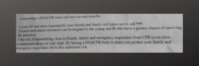 "Portion of a letter sent to some high-risk Wales patients asking them to sign a DNR, including saying it would benefit ""the young and fit who have a greater chance."""