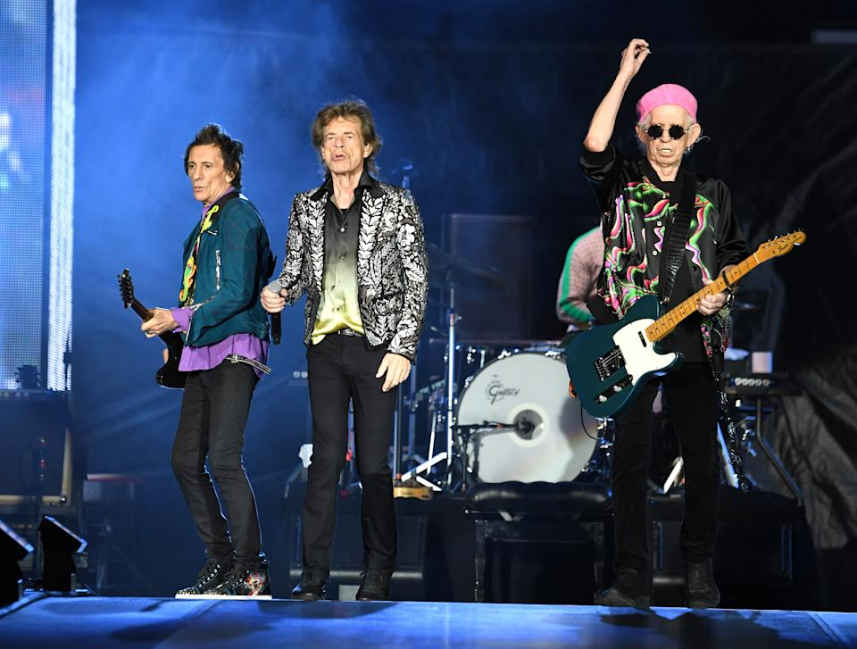 NASHVILLE, TENNESSEE - OCTOBER 09:  Ronnie Wood, Mick Jagger and Keith Richards of The Rolling Stones perform onstage at Nissan Stadium on October 09, 2021 in Nashville, Tennessee. (Photo by Kevin Mazur/Getty Images)