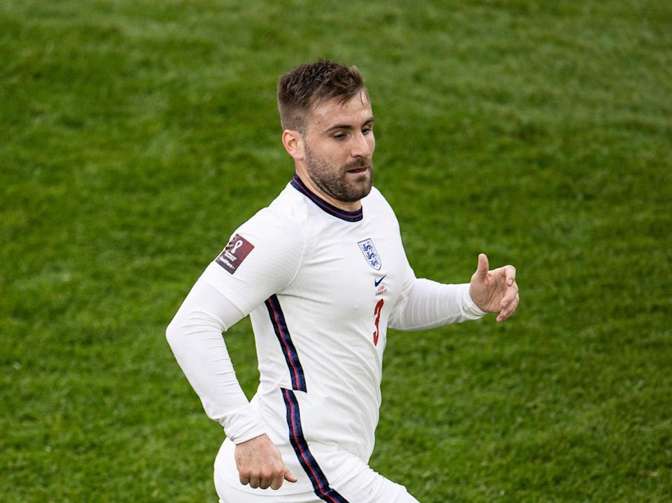 Luke Shaw has returned to the England squad after three years away (The FA via Getty Images)