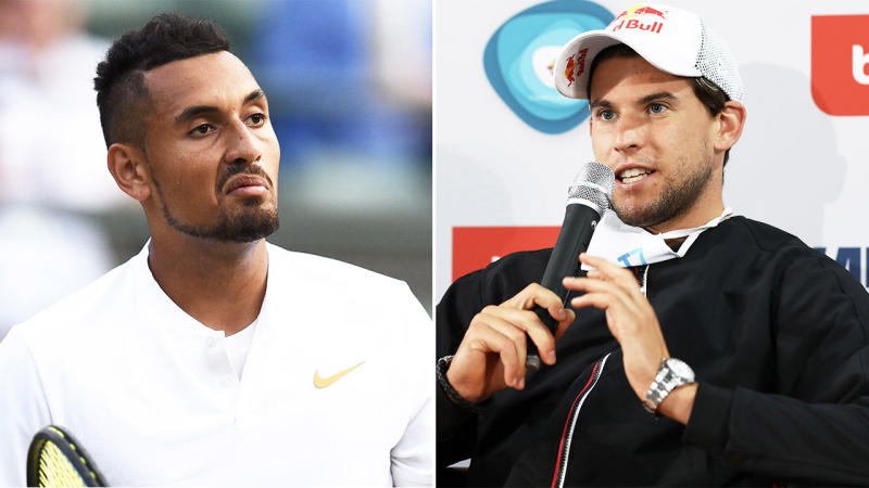 Dominic Thiem (pictured right) talking at a press conference and Nick Kyrgios (pictured left) reacting after a point.