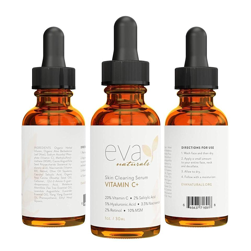"""It's formulated withaloe,hyaluronic acid,niacinamide,retinol andsalicylic acid that help minimize dark spots and excessive redness.<br /><br /><strong>Promising review:</strong>""""I am a licensed esthetician who suffers from hormonal cystic acne that leaves horrible scarring on my sensitive skin, my skin has improved so much since I started using this product! <strong>For the first couple of weeks my skin purged out any underlying blemishes but afterwards was clearer and smoother than I've seen it in YEARS!</strong> I love that it not only targeted my acne scarring with the vitamin C, but it also soothes the redness with theniacinamide, has anti-aging properties from the retinol and helps minimize my blackheads and pore size with the salicylic acid.""""— <a href=""""https://www.amazon.com/gp/customer-reviews/R1LR5DY5ZNMQEH"""" target=""""_blank"""" rel=""""noopener noreferrer"""">Jackie</a><br /><br /><strong>Get it from Amazon for<a href=""""https://amzn.to/3bgCNoQ"""" target=""""_blank"""" rel=""""nofollow noopener noreferrer"""" data-skimlinks-tracking=""""5582326"""" data-vars-affiliate=""""Amazon"""" data-vars-asin=""""B01BT02Q88"""" data-vars-href=""""https://www.amazon.com/dp/B01BT02Q88?tag=bfjasmin-20&ascsubtag=5582326%2C8%2C25%2Cmobile_web%2C0%2C0%2C1148910"""" data-vars-keywords=""""cleaning,fast fashion,skincare"""" data-vars-link-id=""""1148910"""" data-vars-price="""""""" data-vars-product-id=""""17873936"""" data-vars-product-img=""""https://m.media-amazon.com/images/I/41IhhUIOM1L._SL500_.jpg"""" data-vars-product-title=""""Eva Naturals Vitamin C Serum Plus 2% Retinol, 3.5% Niacinamide, 5% Hyaluronic Acid, 2% Salicylic Acid, 10% MSM, 20% Vitamin C - Skin Clearing Serum - Anti-Aging Skin Repair, Serum for Face (1 oz)"""" data-vars-retailers=""""Amazon"""">$14.95</a>.</strong>"""