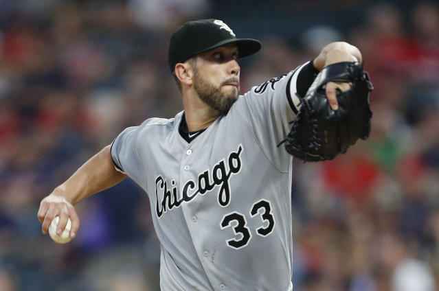 James Shields pitches against the Indians in September in Cleveland. (Getty Images)
