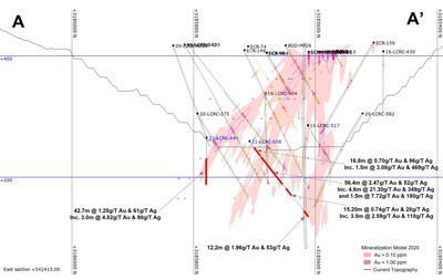 Figure 2 – Cross section showing the section for 'line A' in Figure 1 (Plan View Map) (CNW Group/Argonaut Gold Inc.)