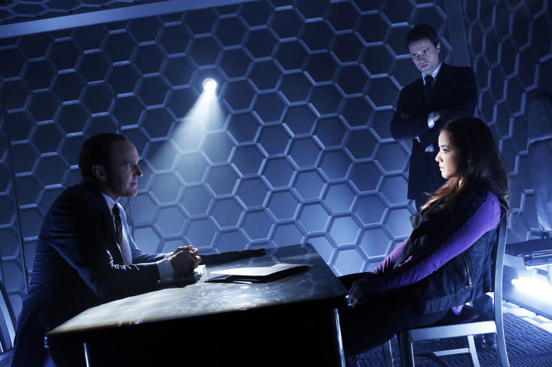 "This publicity photo released by ABC shows from left, Clark Gregg, Brett Dalton, and Chloe Bennet in a scene from ""Marvel's Agents of S.H.I.E.L.D.,"" produced by ABC Studios and Marvel Television. (AP Photo/ABC, Justin Lubin)"