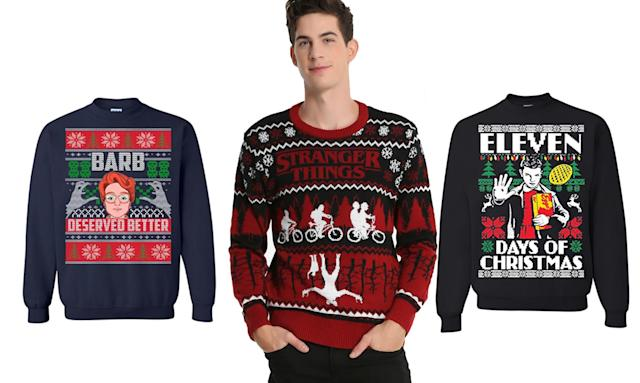 "<p>Friends don't lie, and neither do we: These garments are a fine way to show your love of the Netflix series this Christmas. <strong>Buy <a href=""https://www.amazon.com/Stranger-Deserved-Christmas-Sweater-Sweatshirt/dp/B076X7BF6R/ref=sr_1_8?s=apparel&ie=UTF8&qid=1511366115&sr=1-8&nodeID=7141123011&psd=1&keywords=stranger+things+ugly+christmas+sweater"" rel=""nofollow noopener"" target=""_blank"" data-ylk=""slk:here"" class=""link rapid-noclick-resp"">here</a>, <a href=""http://www.boxlunch.com/product/stranger-things-ugly-holiday-sweater/11089586.html#q=christmas%2Bsweater&start=2"" rel=""nofollow noopener"" target=""_blank"" data-ylk=""slk:here"" class=""link rapid-noclick-resp"">here</a>, and <a href=""https://www.amazon.com/Motivashirts-Stranger-Christmas-Sweater-Sweatshirt/dp/B077KBXV4J/ref=sr_1_10?s=apparel&ie=UTF8&qid=1511366115&sr=1-10&nodeID=7141123011&psd=1&keywords=stranger+things+ugly+christmas+sweater"" rel=""nofollow noopener"" target=""_blank"" data-ylk=""slk:here"" class=""link rapid-noclick-resp"">here</a></strong> </p>"