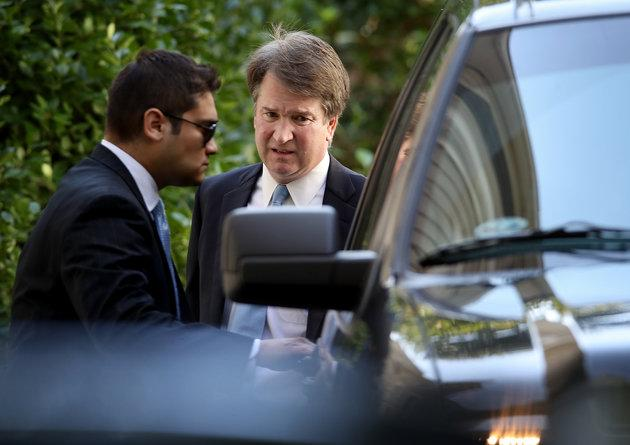 Supreme Court nominee Judge Brett Kavanaugh (R) leaves his home 19 September.