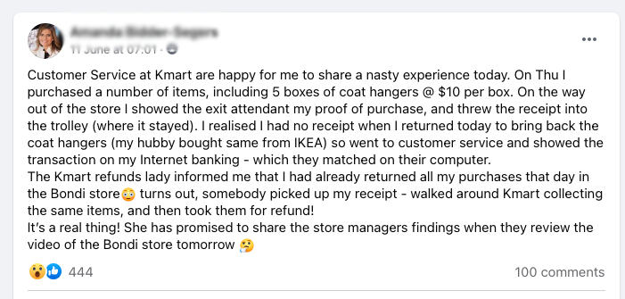 The Sydney Kmart shopper's Facebook post about the