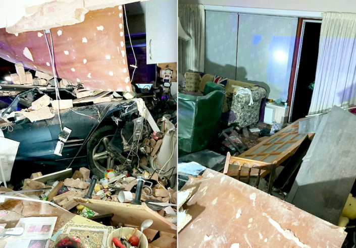 Bricks and debris were scattered across the room after the car ploughed into the property. (SWNS)