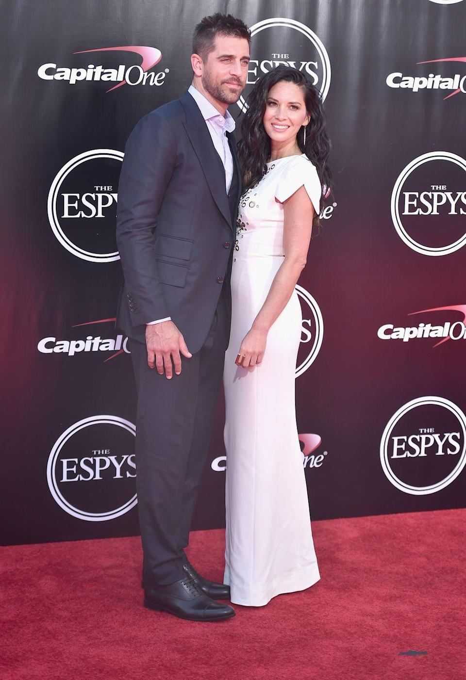 "<p>Before Green Bay Packers QB Aaron Rodgers started dating Danicka Patrick, he was seeing actress Olivia Munn. The couple started dating in 2014 and kept the relationship pretty lowkey—that is until his younger brother Jordan went on <em>The Bachelorette</em> and put <a href=""https://people.com/tv/aaron-rodgers-family-feud-brother-jordan-rodgers/"" rel=""nofollow noopener"" target=""_blank"" data-ylk=""slk:family drama in the spotlight"" class=""link rapid-noclick-resp"">family drama in the spotlight</a>. The same year they sparked engagement rumors, Olivia and Aaron <a href=""https://people.com/celebrity/olivia-munn-aaron-rodgers-split/?xid=socialflow_twitter_peoplemag"" rel=""nofollow noopener"" target=""_blank"" data-ylk=""slk:called it quits in 2017"" class=""link rapid-noclick-resp"">called it quits in 2017</a>.</p>"