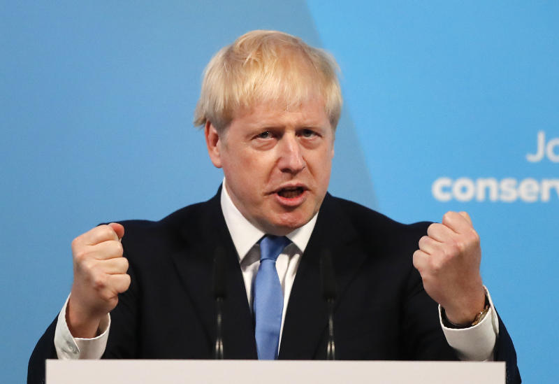 Boris Johnson speaking after winning the Conservative Party leadership race and becoming Prime Minister on July 23, 2019. (AP)