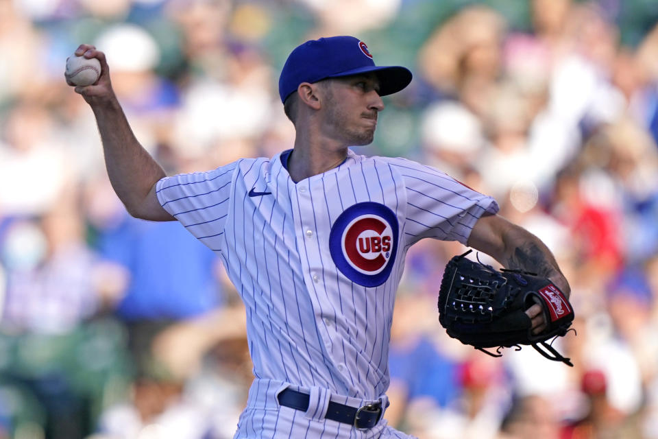 Chicago Cubs starting pitcher Zach Davies throws against the St. Louis Cardinals during the first inning of a baseball game in Chicago, Sunday, June 13, 2021. (AP Photo/Nam Y. Huh)