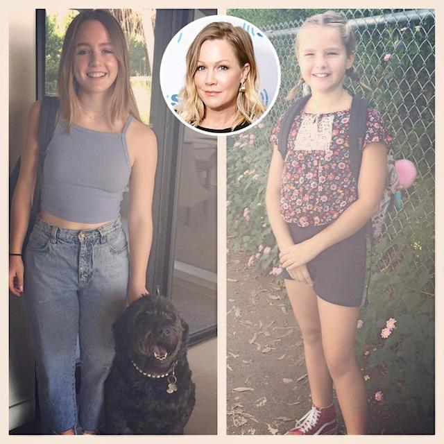 "<p>""I can't not share this with you,"" wrote Jennie Garth about her daughters with ex-hubby Peter Facinelli. ""9th and 5th graders. Ready to go! #timeflys #proud #family."" (Photos: <a href=""https://www.instagram.com/p/BYeT2EDBTyc/?hl=en&taken-by=jenniegarth"" rel=""nofollow noopener"" target=""_blank"" data-ylk=""slk:Jennie Garth via Instagram"" class=""link rapid-noclick-resp"">Jennie Garth via Instagram</a>/Getty Images)<br><br></p>"