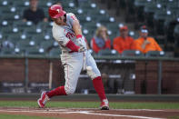 Philadelphia Phillies' Rhys Hoskins hits a single against the San Francisco Giants during the first inning of a baseball game Friday, June 18, 2021, in San Francisco. (AP Photo/Tony Avelar)
