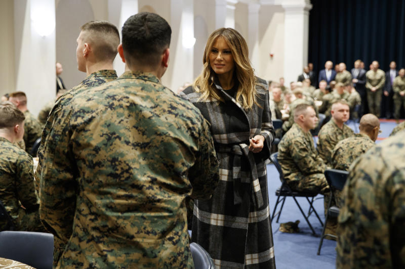 First lady Melania Trump visits with Marines at the Marine Barracks Washington, Thursday, Nov. 15, 2018, in Washington. (AP Photo/Evan Vucci)
