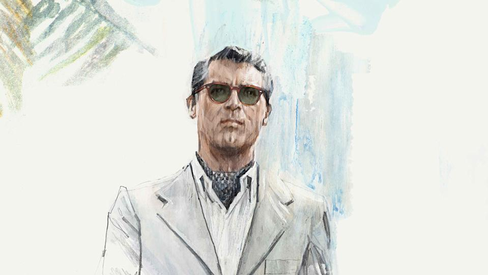 A sketch of Grant in the new Cary Grant 2 sunglasses/