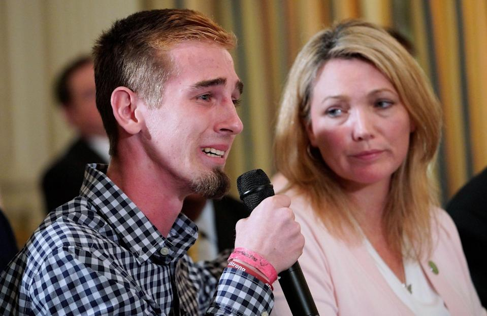 Marjory Stoneman Douglas High School shooting survivor Samuel Zeif (L) confronts President Trump in an emotional meeting in Florida. (AFP/Getty)