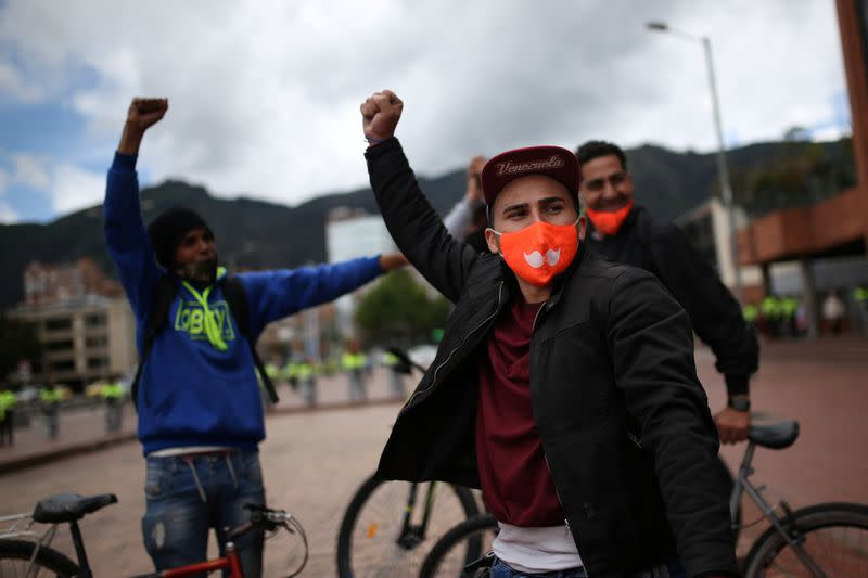 Delivery workers for Rappi and other delivery apps protest as part of a strike to demand better wages and working conditions, amid the coronavirus disease (COVID-19) outbreak, in Bogota