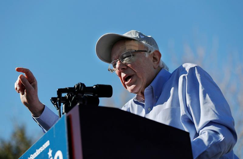 2020 Democratic presidential candidate Sen. Bernie Sanders speaks at a rally Saturday, March 16, 2019, in Henderson, Nev. (AP Photo/John Locher)