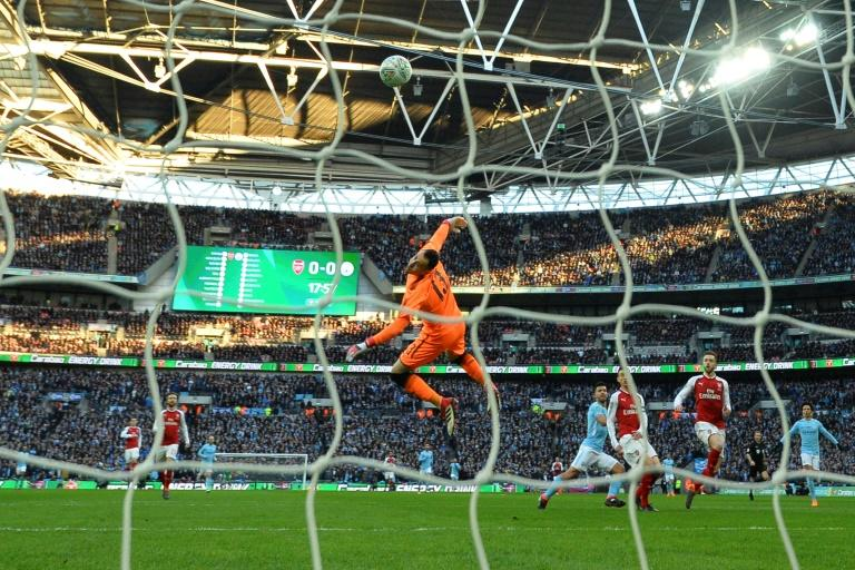 Opening strike: Sergio Aguero puts City in front against Arsenal