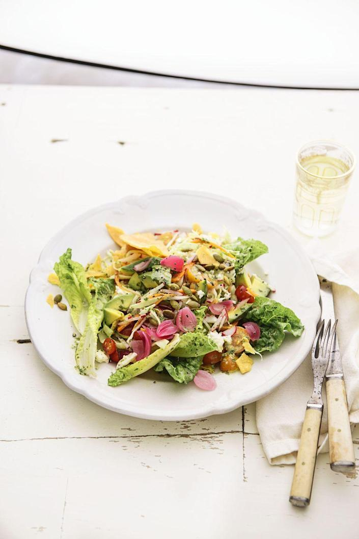 """<p>Take all the best parts of a taco and toss 'em together to make this crazy-delicious, colorful salad. </p><p><em><a href=""""https://www.goodhousekeeping.com/food-recipes/a1390/baja-salad-recipe-ghk0415/"""" rel=""""nofollow noopener"""" target=""""_blank"""" data-ylk=""""slk:Get the recipe for Baja Salad »"""" class=""""link rapid-noclick-resp"""">Get the recipe for Baja Salad »</a></em> </p>"""