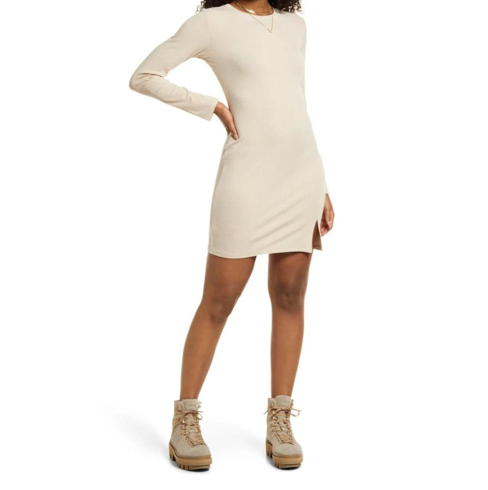 <p>Between the small slit and curve-hugging silhouette, this <span>BP. Fitted Slit Long Sleeve Rib Dress</span> ($39) is a must for nights out with your besties.</p>