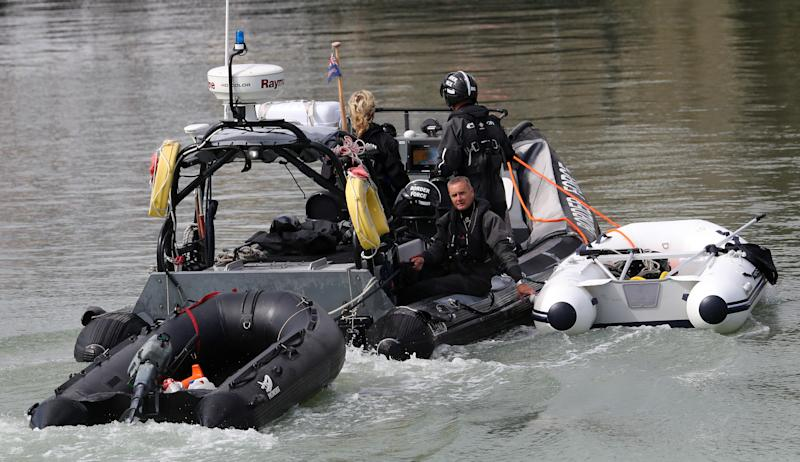 Small boats thought to be used by migrants are towed into Dover, Kent, by Border Force officers on Thursday. (PA)