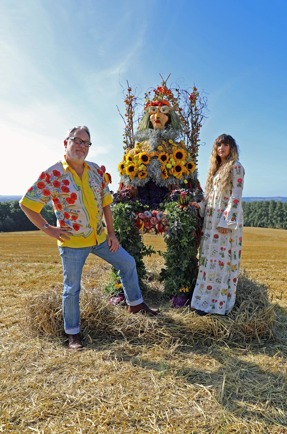 "<div class=""caption""> <em>The Big Flower Fight</em> hosts Vic Reeves and Natasia Demetriou. </div> <cite class=""credit"">Courtesy of Netflix</cite>"