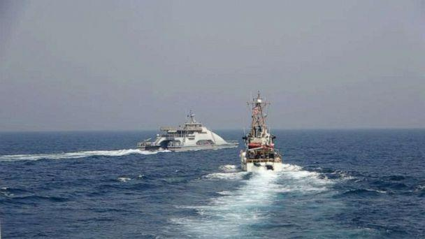 PHOTO: Iran's Islamic Revolutionary Guard Corps Navy conducted an unsafe and unprofessional action by crossing the bow of the Coast Guard patrol boat as it was conducting a routine security patrol in international waters, Apr. 2, 2021. (Navcent Public Affairs/U.S. Naval Forces Central Command/US Navy)