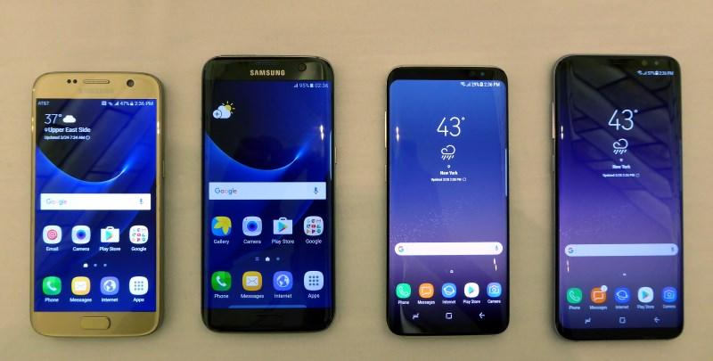 From left to right, Samsung Galaxy S7, S7 Edge, S8, S8+. Not only is the Infinity Display more compelling, the phones themselves look better crafted as a single piece of glass rather than segmented parts.