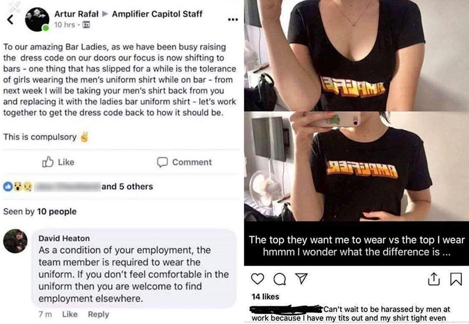 Amplifier Capitol management notified staff that female workers would only be allowed to wear lower-cut form fitting T-shirts, and ladies would be banned from wearing the men's style T-shirts. Source: Jessica Williams / Facebook